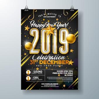 Plantilla de póster de fiesta de año nuevo 2019 con número de bombilla de luces