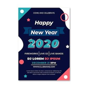 Plantilla de póster de fiesta de año nuevo 2020 en diseño plano