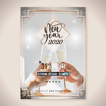Plantilla de póster de fiesta de año nuevo 2020 con imagen