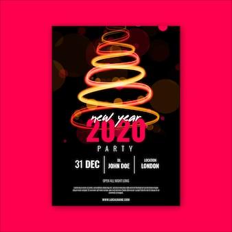 Plantilla de póster de fiesta de año nuevo 2020