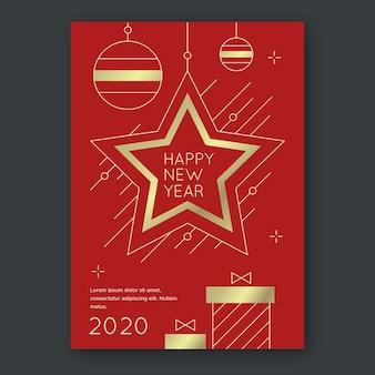 Plantilla de póster de fiesta de año nuevo en estilo de contorno con estrella dorada