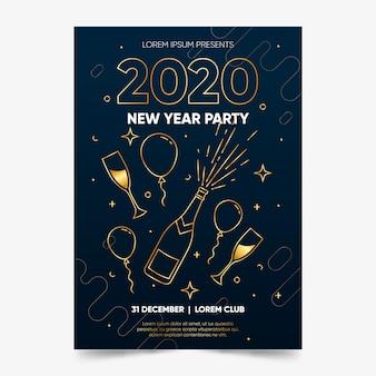 Plantilla de póster de fiesta de año nuevo en estilo de contorno
