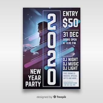 Plantilla de póster de fiesta de año nuevo con foto