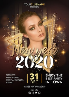 Plantilla de póster de fiesta de año nuevo de lujo