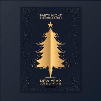 Plantilla de póster de fiesta de árbol de navidad de año nuevo en estilo de contorno
