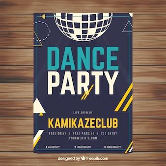 Plantilla de póster de fiesta con bola de discoteca