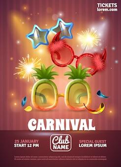 Plantilla de póster de fiesta de carnaval, invitación especial del club con luces de bengala y gafas divertidas ilustración vectorial