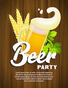 Plantilla de póster de fiesta de cerveza con taza y espuma