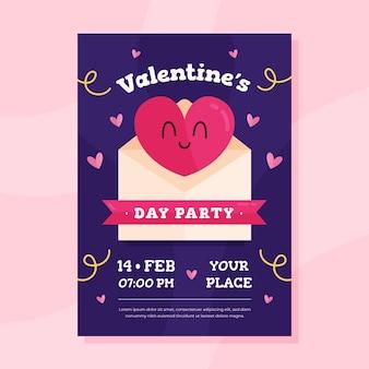 Plantilla de póster de fiesta del día de san valentín