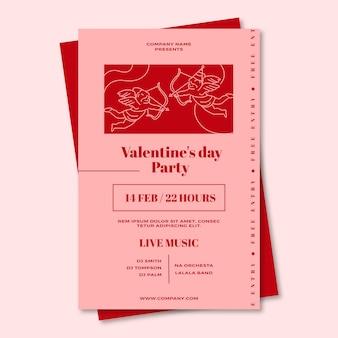 Plantilla de póster para la fiesta del día de san valentín