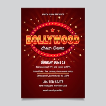 Plantilla de póster de fiesta de diseño de bollywood