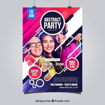 Plantilla de póster de fiesta con estilo abstracto