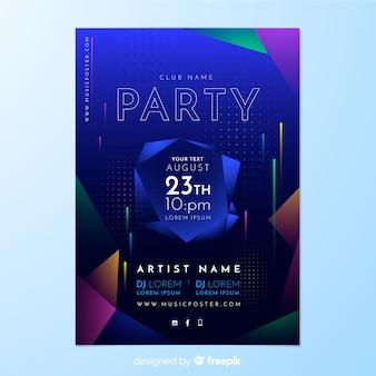 Plantilla de poster de fiesta con forma abstracta