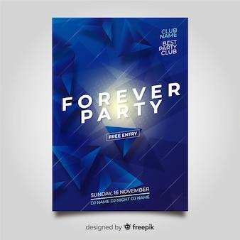 Plantilla de póster de fiesta con formas abstractas