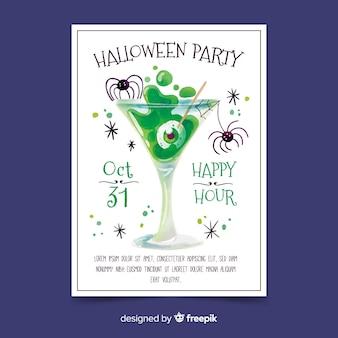 Plantilla de póster de fiesta de halloween en acuarela