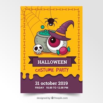 Plantilla de póster de fiesta de halloween dibujado a mano