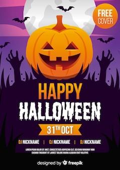 Plantilla de póster de fiesta de halloween con manos de calabaza y zombie
