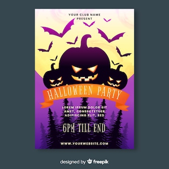 Plantilla de póster de fiesta de halloween de miedo