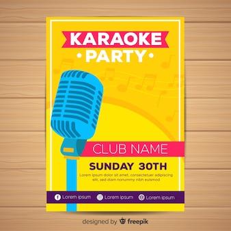 Plantilla de poster de fiesta de karaoke