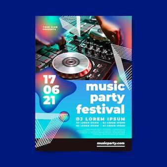 Plantilla de póster de fiesta de música