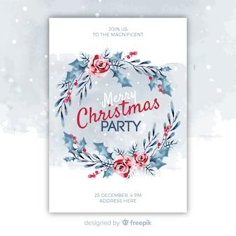 Plantilla de póster de fiesta de navidad de acuarela