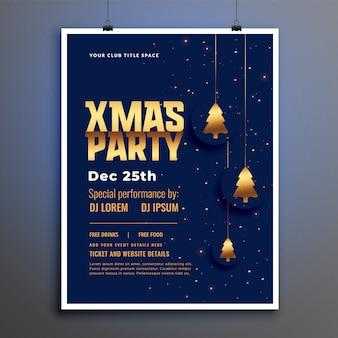 Plantilla de póster de fiesta de navidad con árbol de navidad dorado
