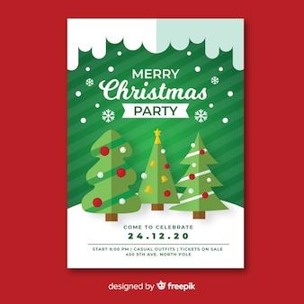 Plantilla de póster de fiesta de navidad con árboles de navidad en diseño plano