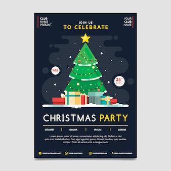 Plantilla de póster de fiesta de navidad en diseño plano