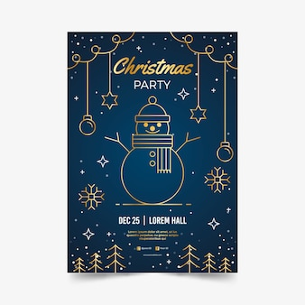 Plantilla de póster de fiesta de navidad en estilo de contorno