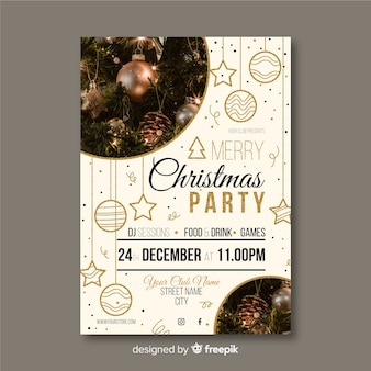 Plantilla de póster de fiesta de navidad con foto
