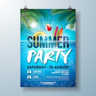 Plantilla de póster de fiesta en la piscina de verano con hojas de palmera y paisaje del océano azul