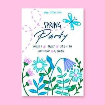Plantilla de póster de fiesta de primavera dibujado a mano