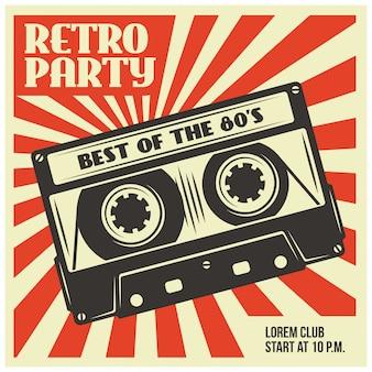 Plantilla de póster de fiesta retro con cassette de audio
