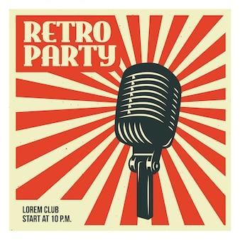 Plantilla de póster de fiesta retro con micrófono antiguo