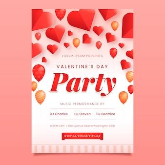 Plantilla de póster de fiesta de san valentín en diseño plano