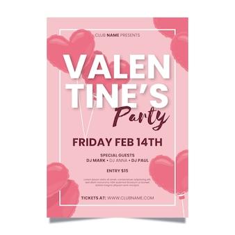 Plantilla de póster de fiesta de san valentín