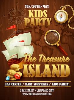 Plantilla de póster de fiesta de treasure island