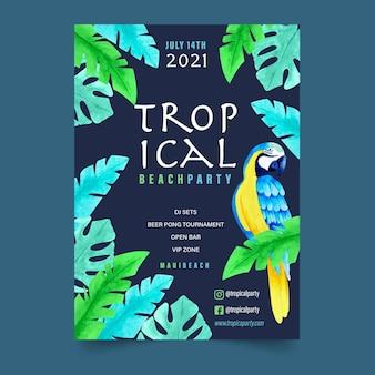 Plantilla de póster de fiesta tropical