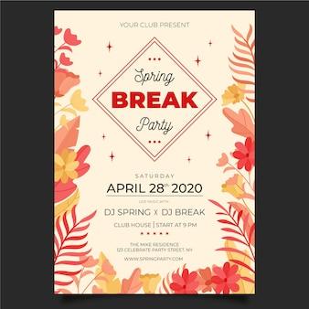 Plantilla de póster de fiesta de vacaciones de primavera