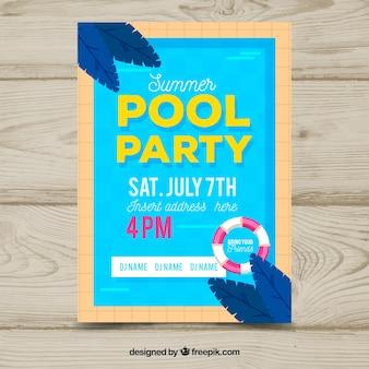 Plantilla de póster de fiesta veraniega con diseño plano