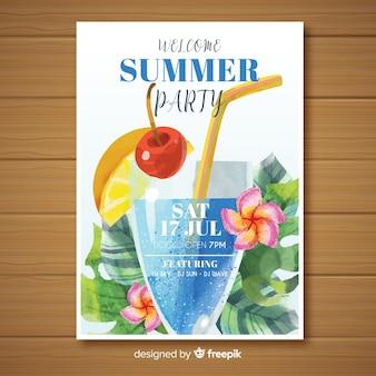 Plantilla de poster de fiesta veraniego en acuarela