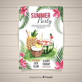 Plantilla de poster de fiesta de verano en acuarela
