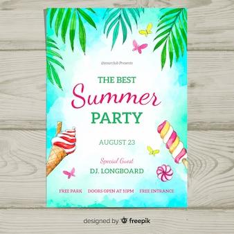 Plantilla de póster de fiesta de verano en acuarela