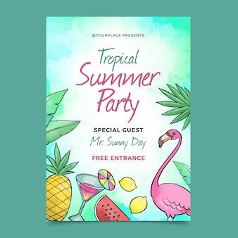 Plantilla de póster de fiesta de verano de acuarela