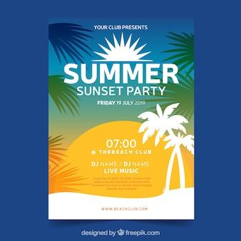 Plantilla de póster de fiesta de verano con degradado