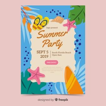 Plantilla de póster de fiesta de verano dibujada a mano