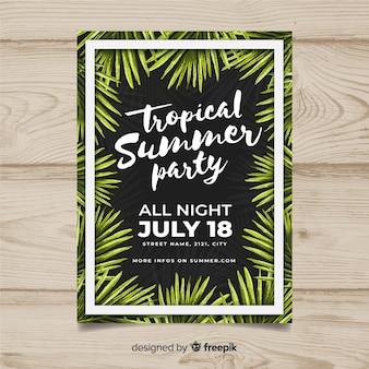 Plantilla de poster de fiesta de verano dibujado a mano
