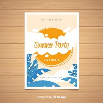 Plantilla de póster de fiesta de verano dibujado a mano