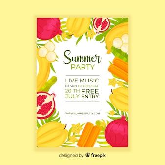 Plantilla de poster de fiesta de verano en diseño plano