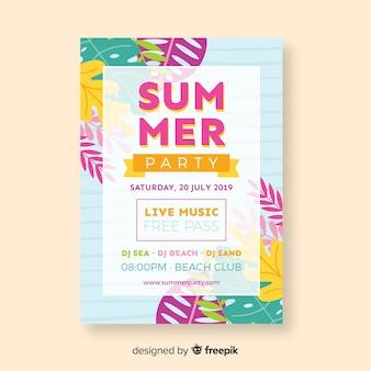 Plantilla de póster de fiesta de verano en diseño plano